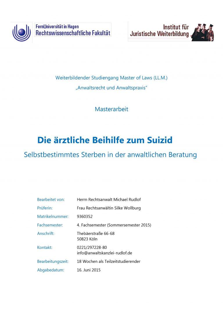 Die ärztliche Beihilfe zum Suizid - Selbstbestimmtes Sterben in der anwaltlichen Beratung - Deckblatt