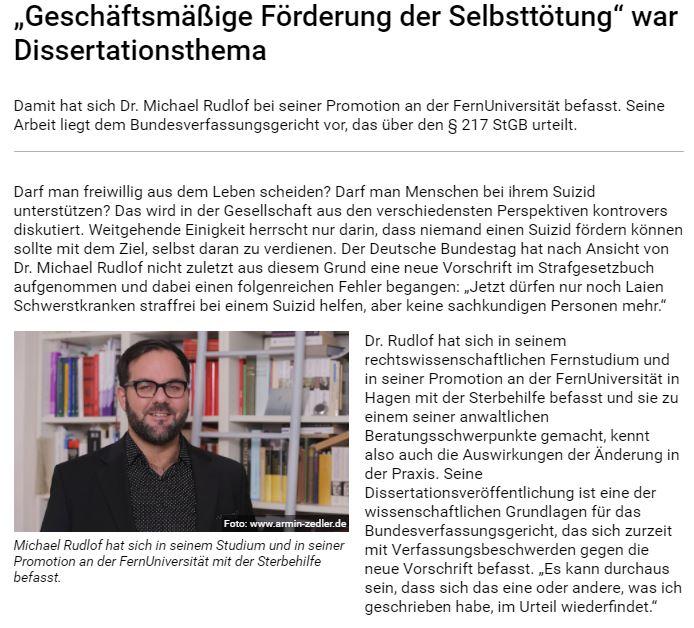 """FernUniversität in Hagen über Dr. Michael Rudlof zum Thema """"Geschäftsmäßige Förderung der Selbsttötung"""""""